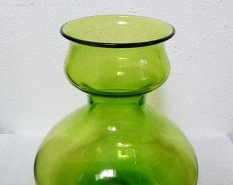 Mid-Century Bischoff Olive Green Vase Bottle Vintage Art Glass Tulip Top