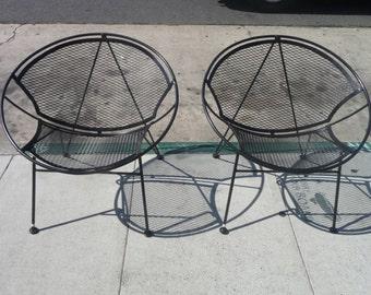 Pair Of Salterini Hoop Chairs Salterini Orange Slice Chair Outdoor Patio Furniture Mid Century Modern Patio Wrought Iron Patio