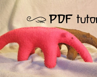 Anteater, felt anteater, anteater pattern, felt anteater pattern, SAVE THE RAINFORESTS, rainforest preservation, felt animal tutorial, pdf