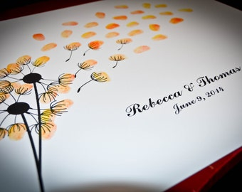 Dandelion Wedding Guestbook Alternative Thumbprint Fine Art Print / Gift