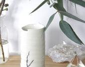 Black white Ceramic vase. White pottery vase. Wabi Sabi Stoneware vase.  Wheel thrown vase. Bushfire vase. White Handmade vase