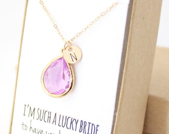 Lavender Purple / Gold Teardrop Necklace - Purple Bridesmaid Necklace - Bridesmaid Gift Jewelry - Lavender and Gold Necklace - NB1
