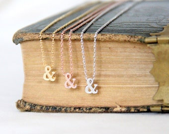 Gold Ampersand Necklace, Silver Ampersand Necklace, Bridesmaid Gift, Wedding, Christmas Gift, Graduation Jewely