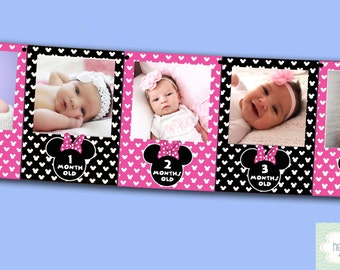 Minnie Mouse First Year Photo Banner / 12 Month Banner / Minnie Mouse First Birthday Party / PINK / Printable - FILE to PRINT diy