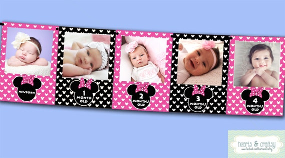Minnie Mouse First Year Photo Banner / 12 Month Banner / Minnie Mouse ...