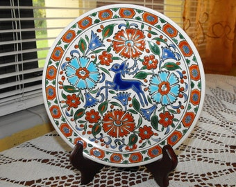 Decorative Art Plate Deer / Doe Hand Made by Lindos Keramik Greece