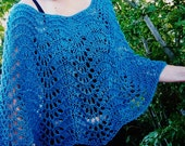 Pure and Simple Knitting Pattern EASY LACE PONCHO Elegant for Evening Or Casual