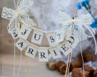 SMALL Lace Just Married Wedding Cake Topper Banner with pearls