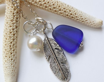 Royal Blue Sea Glass Necklace, Beach Glass Necklace, Sea Glass Jewelry, Beach Glass Jewelery, Feather Charm Necklace, Free Shipping in US.