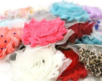 Shabby Rose Trim Grab Bag (15 Flowers), Rose Trim, Chiffon Flowers, Flower Trim