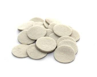 1 Inch Ivory Adhesive Felt Circles - Felt Backing, Craft Felts