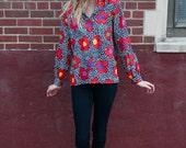 Colorful Floral Shirt / Blouse / Small / Medium
