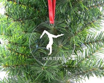 Personalized Custom Gymnastics Clear Acrylic Christmas Tree Ornament