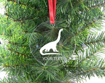 Personalized Custom Diplodocus - Dinosaur Clear Acrylic Christmas Tree Ornament with Ribbon