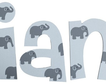 Wooden Elephant Letters in White / Cheri Font