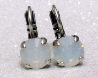 White Opal Swarovski Crystal Dangle Earrings - Handcrafted Beautiful White Opal Crystals 8mm