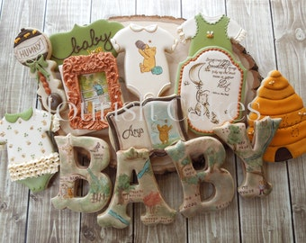 Classic Winnie the Pooh Cookies, PoohCookies, Baby Shower, Baby Cookies, Classic Pooh Cookies, Cookie Favors