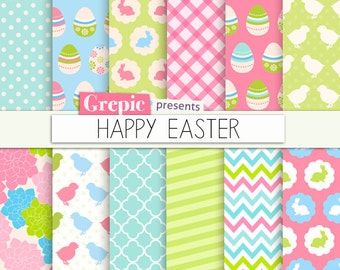 "Easter digital paper: ""HAPPY EASTER"" with easter bunny, floral spring, chicken, rabbits, quatrefoil, chevron, polkadots, pink, green, chicks"