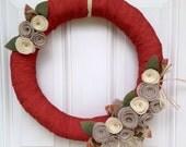 "Fall Wreath, Autumn Wreath, Orange Wreath, Fall Door Decoration, Fall Decor, Pumpkin Wreath, Felt Flower Wreath, Pumpkin Spice Wreath, 18"""