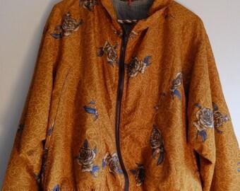 Vintage Scarf Print Gold Floral Wind Breaker Hooded Jacket