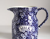Burleigh Blue Calico Milk Pitcher - Jug - blue and white Ironstone Staffordshire England china
