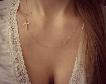 Rose Gold-Filled Sideways Cross Asymmetrical Necklace - Handmade Jewelry - Everyday Necklace - Bridesmaid Necklace - Minimalist Jewelry