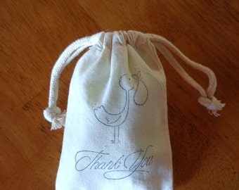 10 Baby Shower Thank You Gift Bags, Thank You Muslin Bags, Draw String Bags,Thank You Bags,Stamped Thank You Bags