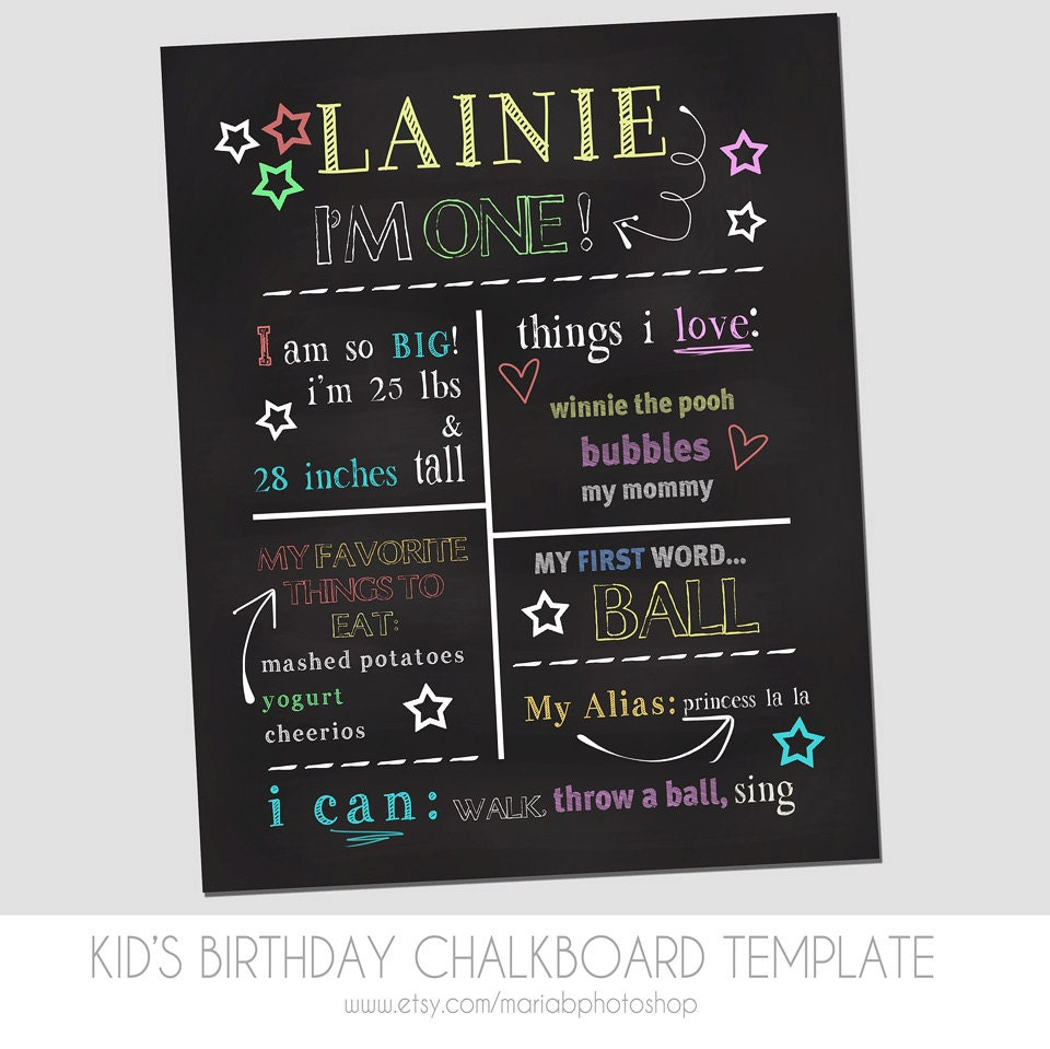 Child39s first birthday chalkboard template marketing for First birthday chalkboard template
