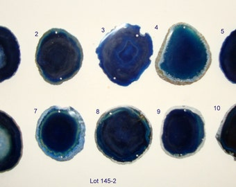 Brazilian agate slice, blue, two holes - Lot AG145-2