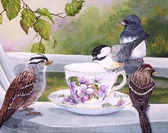 ACEO Card - Limited Edition PRINT; run of 20, from an original painting, teacup series,  birds, wings, feathers,