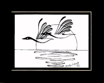 ORIGINAL INK DRAWING; free shipping, Canada Geese, ink drawing, original art,Canadian art, nature, wilderness, wings, feathers, wall art,