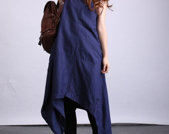 Summer plus size clothing pullover long linen dress loose fitting maxi dress(80524)