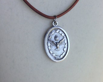 Holy Spirit Medal on Adjustable light brown leather
