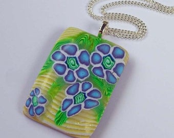Polymer Clay Blue Floral Pendant Polymer Clay Necklace Polymer Clay Pendant