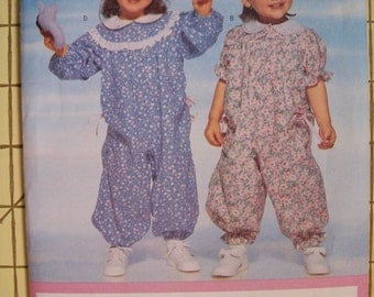 Butterick 4589. Easy Infants' Romper and Jumpsuit. Sizes S-M-L-XL.  Uncut and factory folded.