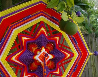"24"" Mandala Woven Yarn Art - Ojo de Dios Wall Hanging - Circus"