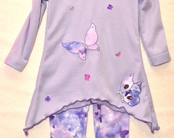 Amethyst Butterfly Tunic and Leggings, Sizes 2T through 5T, Made to Order