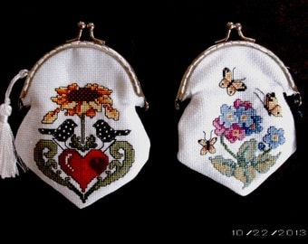 Cross-Stitch Purses - Small Cross-Stitch Coin Purses