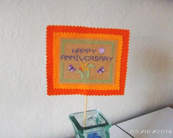 Planter Sign - Happy Anniversary Cross-stitch Planter/Flower Sign