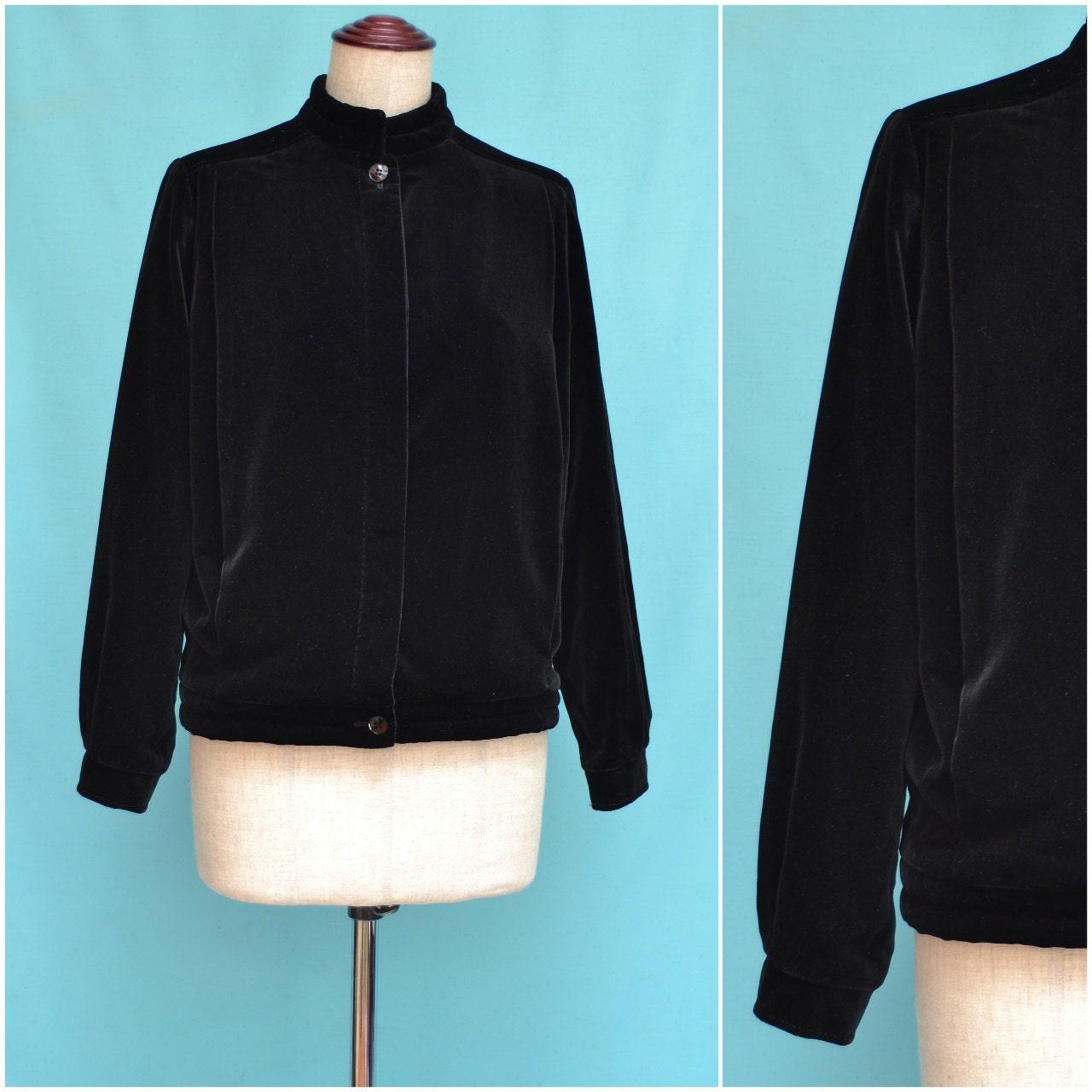 Vintage veste blazer de style ann es 80 noir velours - Veste annee 80 ...