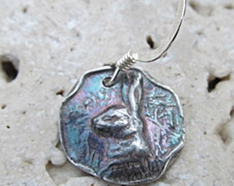 Fine SILVER EARRINGS of petite BUNNY rabbit  handcrafted from vintage button into .999 Artisan jewelry for nature lovers