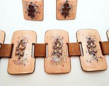 Vintage Copper Enamel Bracelet and Earring Set, Mid Century