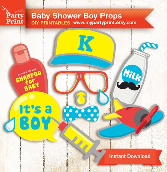 baby shower photobooth props baby boy party printable with