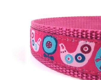 Scandinavian Chickens Dog Collar/ Birds and flowers dog collar/ ribbon dog collar/ adjustable dog collar