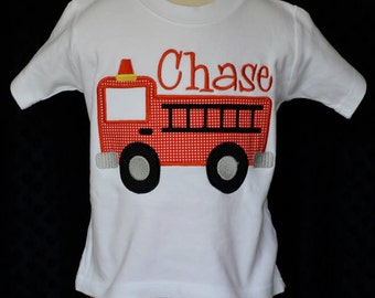 Personalized FireTruck Applique Shirt or Onesie Boy or Girl