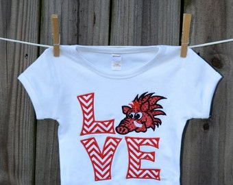 Personalized LOVE Arkansas Razorback Hog Tusk Applique Shirt or Onesie