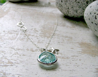 Infinity Necklace Sideways Infinity necklace Erinite Necklace Aquamarine jewelry Starfish 925 Sterling Silver march birthstone beach wedding
