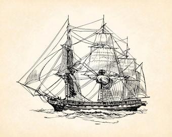 Ship Boat Clipper Sailing Tall Sails Vintage Printable Image INSTANT Download Digital Antique Clip Art Transfer Art Print jpg jpeg png V125