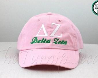 Delta Zeta Sorority Baseball Cap - Custom Color Hat and Embroidery.