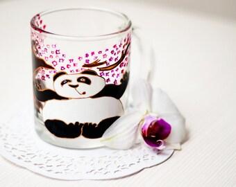 Kung Fu Panda Mug, Funny Mug, Animal Lover Cup, Hand Painted Glass Mug